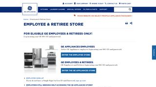 Employee & Retiree Store   GE Appliances
