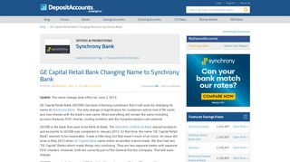 GE Capital Retail Bank Changing Name to Synchrony Bank