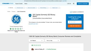 Top 1,395 Reviews and Complaints about GE Capital (formerly GE ...