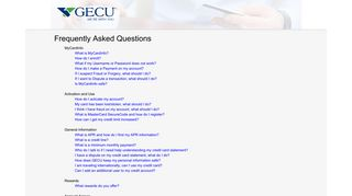 Frequently Asked Questions - GECU MyCardInfo