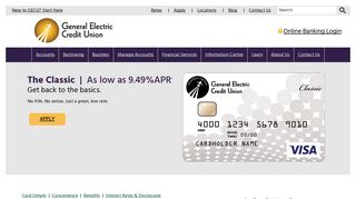 Credit Cards - Classic Credit Card - General Electric Credit Union