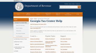 Georgia Tax Center Help | Department of Revenue