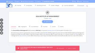 GOA INSTITUTE OF MANAGEMENT - Admission In 30minutes