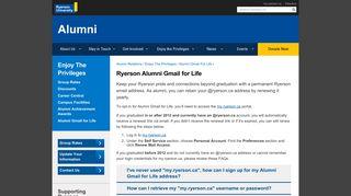 Alumni Gmail for Life - Alumni - Ryerson University