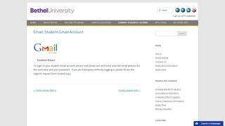 Email: Student Gmail Account | Bethel University