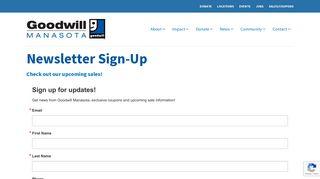 Newsletter Sign-Up | Goodwill Manasota