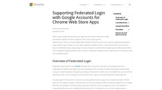 Supporting Federated Login with Google Accounts for Chrome Web ...