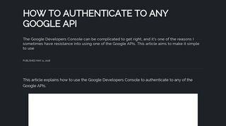 How to authenticate to any Google API - Flavio Copes