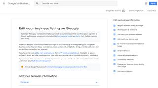 Edit your business listing on Google - Google My ... - Google Support