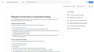 Request ownership of a business listing - Google My Business Help
