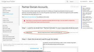Partner Domain Accounts | Google Issue Tracker | Google Developers