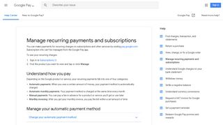 Manage recurring payments and subscriptions - Google Pay Help