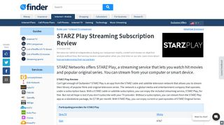 STARZ Play Streaming Subscription Review | finder.com