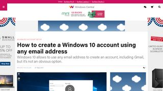 How to create a Windows 10 account using any email address ...