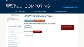 SAS Webmail Logon Pages   Arts & Sciences Computing