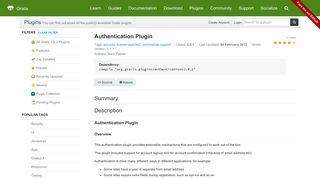 Grails Plugin: Authentication Plugin
