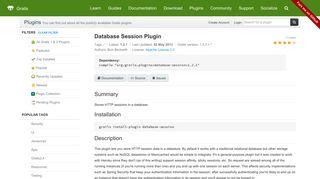 Grails Plugin: Database Session Plugin