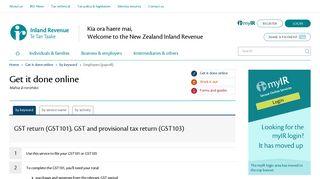 GST return (GST101), GST and provisional tax return (GST103) (by ...