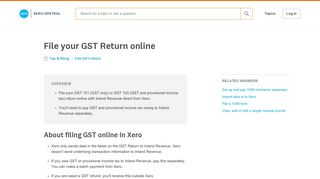 File your GST Return online - Xero Central