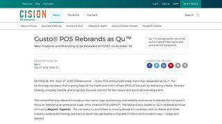 Gusto® POS Rebrands as Qu™ - PR Newswire