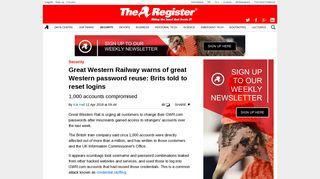 Great Western Railway warns of great Western password reuse: Brits ...