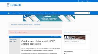 Quick access pin issue with HDFC android application - Techulator