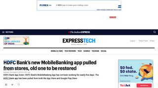 HDFC Bank's new MobileBanking app pulled from stores, old one to ...