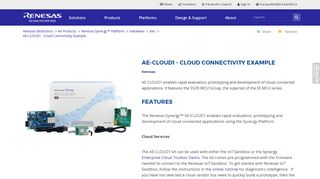 AE-CLOUD1 - Cloud Connectivity Example - Renesas Electronics
