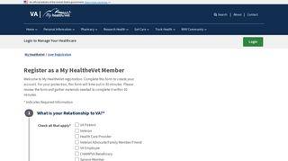 User Registration - My HealtheVet