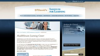 Health Stream :: St. David's Institute for Learning