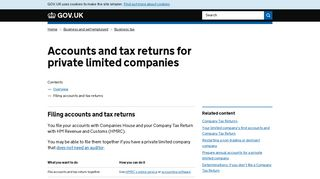 Accounts and tax returns for private limited companies: Filing accounts ...