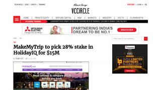 MakeMyTrip to pick 28% stake in HolidayIQ for $15M | VCCircle