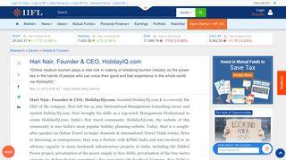 Hari Nair, Founder & CEO, HolidayIQ.com - IndiaInfoline