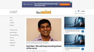 Hari Nair | We will keep investing ahead of the curve - Livemint