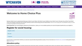 Home Choice Plus - Wychavon District Council
