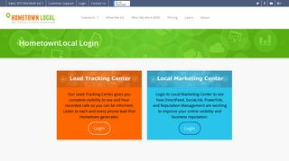 Login - HometownLocal Lead Tracking and Business Center