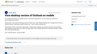 View desktop version of Outlook on mobile - Microsoft Community