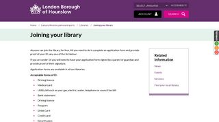 Joining your library - London Borough of Hounslow