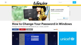 How to Change Your Password in Windows 10, 8, & 7 - Lifewire