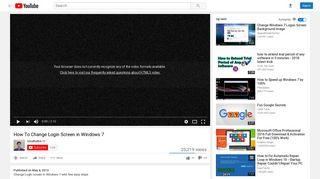 How To Change Login Screen in Windows 7 - YouTube