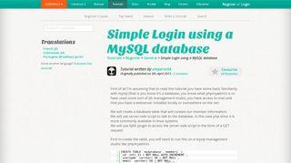 Simple Login using a MySQL database - Scirra.com