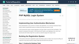 Creating a User Login System with PHP and MySQL - Tutorial Republic