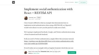 Implement social authentication with React + RESTful API - Medium