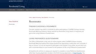 Roommates | Student Living | Georgetown University - Residential Living
