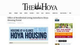 Office of Residential Living Introduces Hoya Housing Portal - The Hoya