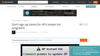Don't sign up clients for HP's Instant Ink program!!! - Spiceworks ...