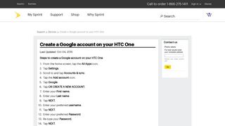 Create a Google account on your HTC One - Sprint
