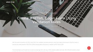 Easy HTML Login Form using Validation Rules - Adam Bray