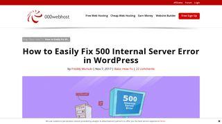 How to Easily Fix 500 Internal Server Error in WordPress - 000Webhost
