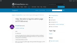 Help. Not able to log into admin page (HTTP 500 error) | WordPress.org